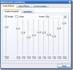 Vlc 31-band equalizer plugin in Title/Summary